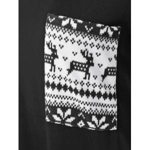 Wapiti Pattern One Pocket Blouse - WHITE/BLACK M