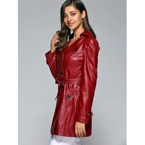 Self-Tie Button Up Faux Leather Coat - WINE RED M