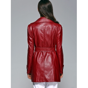 Self-Tie Button Up Faux Leather Coat - WINE RED 2XL