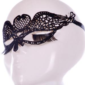 Gothic Style Wings Lace Party Mask - BLACK