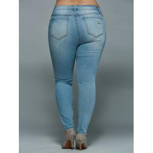 Mid Waisted Skinny Plus Size Distressed Jeans - LIGHT BLUE 3XL