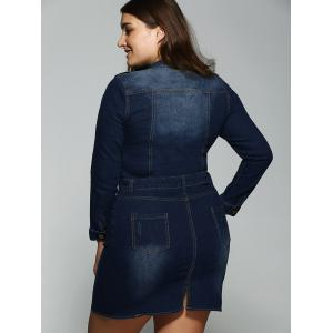 Plus Size Belted Fitted Jeans Long Sleeve Shirt Dress -