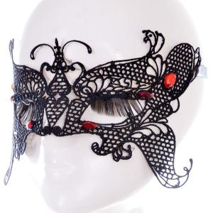 Gothic Style Butterfly Faux Ruby Lace Party Mask -