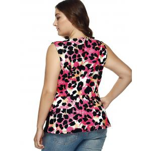 Cut Out Leopard Asymmetrical Blouse -