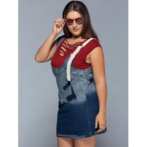 Suspender Ripped Denim Plus Size Dress - Bleu 2XL