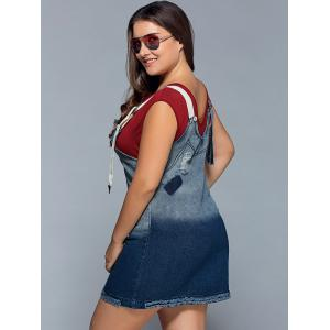Suspender Ripped Denim Plus Size Dress - Bleu 5XL