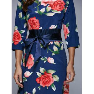 3/4 Sleeve Floral Print High Waist Dress - PURPLISH BLUE XL