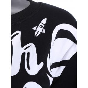 Letter and Building Print Fleece Sweatshirt - BLACK ONE SIZE