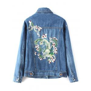 Turn-Down Collar Denim Embroidered Jacket -