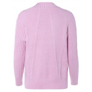 Mock Neck Argyle Pullover Cable Knitwear -