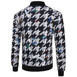 3D Abstract Houndstooth Print Stand Collar Zip-Up Jacket -