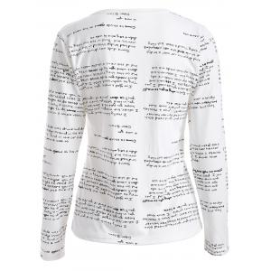 Long Sleeves Letter Print T-Shirt -
