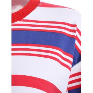 Loose Fitting Striped Print T-Shirt -