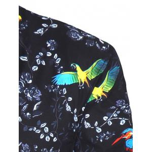 3D Birds and Florals Print Stand Collar Zip-Up Jacket -