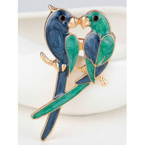 Enamel Birds Lovers Brooch -
