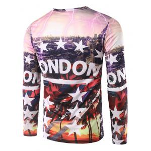 3D City View Print Round Neck T-Shirt - COLORMIX L