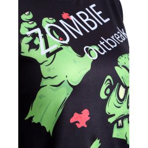 Letter and Monster Print Cropped Sweatshirt -