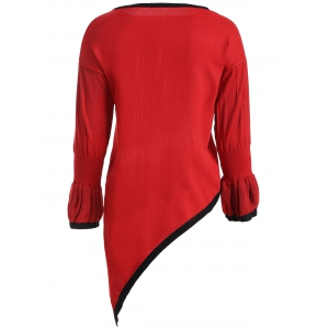 Trumpet Sleeves Asymmetrical Knitted Pullover -