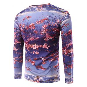 Round Neck Long Sleeve Floral 3D Print T-Shirt -