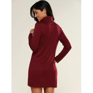 Turtleneck Slit Bodycon Dress -