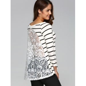 Lace Back Striped Smock Blouse -