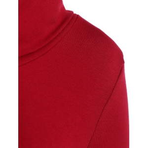 Hign Neck Knitted Mini Robe moulante - Rouge 2XL