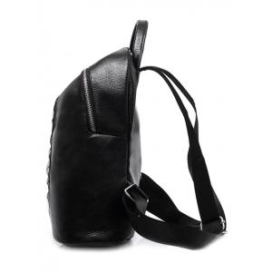 Textured Leather Beading Metal Backpack -