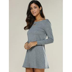 Strappy Backless Long Sleeve Dress - DEEP GRAY XL