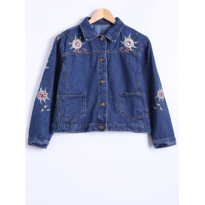Double Pockets Floral Embroidery DenimJacket -