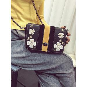Striped Pattern Flower Embroidery Crossbody Bag - BLACK