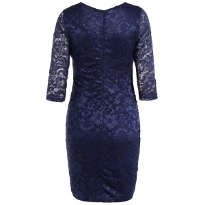 Lace Insert Ruched Bodycon Dress -