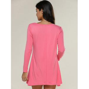 Long Sleeve Plain Knitted Tunic Dress - WATERMELON RED XL