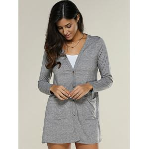 Pocket Design Buttoned Thin Coat - DEEP GRAY XL