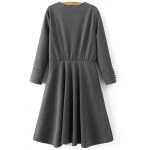 Long Sleeve Crossover Modest A Line Dress -