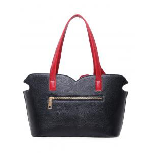 PU Leather Two-Tone Stitching Shoulder Bag -