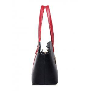 PU Leather Two-Tone Stitching Shoulder Bag - BLACK