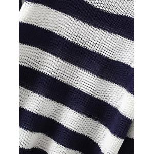 Two Tone Striped Scoop Sweater -
