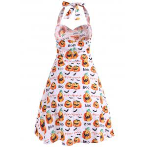 Halter Pumpkin Print Vintage Dress -