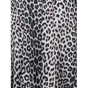 Plunging Neck Leopard Print Plus Size Dress -