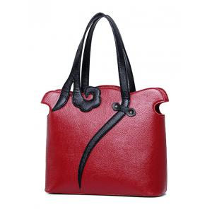 Metal PU Leather Two-Tone Shoulder Bag - WINE RED