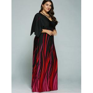 A Line Empire Waist Printed Plus Size Formal Maxi Dress with Batwing Sleeves - BLACK 6XL