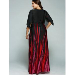 A Line Empire Waist Printed Plus Size Formal Maxi Dress with Batwing Sleeves -