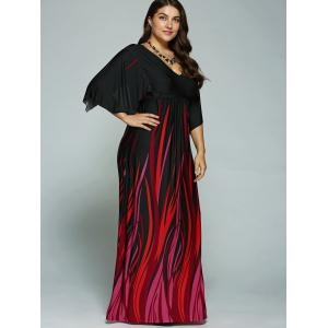 A Line Empire Waist Printed Plus Size Formal Maxi Dress with Batwing Sleeves - BLACK 2XL