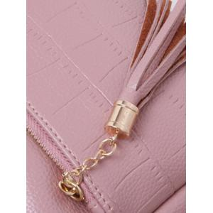 PU Leather Tassels Embossing Crossbody Bag -