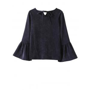 Corduroy Thermal Bell Sleeve Blouse -