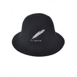 Winter Feather Embroidery Brimmed Knit Bucket Hat -