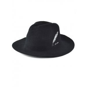 Winter Feather Embroidery Brimmed Knit Fedora -