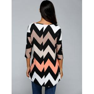 Printed Zig Zag V Neck T- Shirt - COLORMIX S