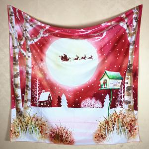 Christmas Landscape Pattern Square Scarf - RED