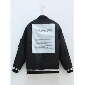 Plus Size Zipped Back Letter Bomber Jacket - BLACK 4XL